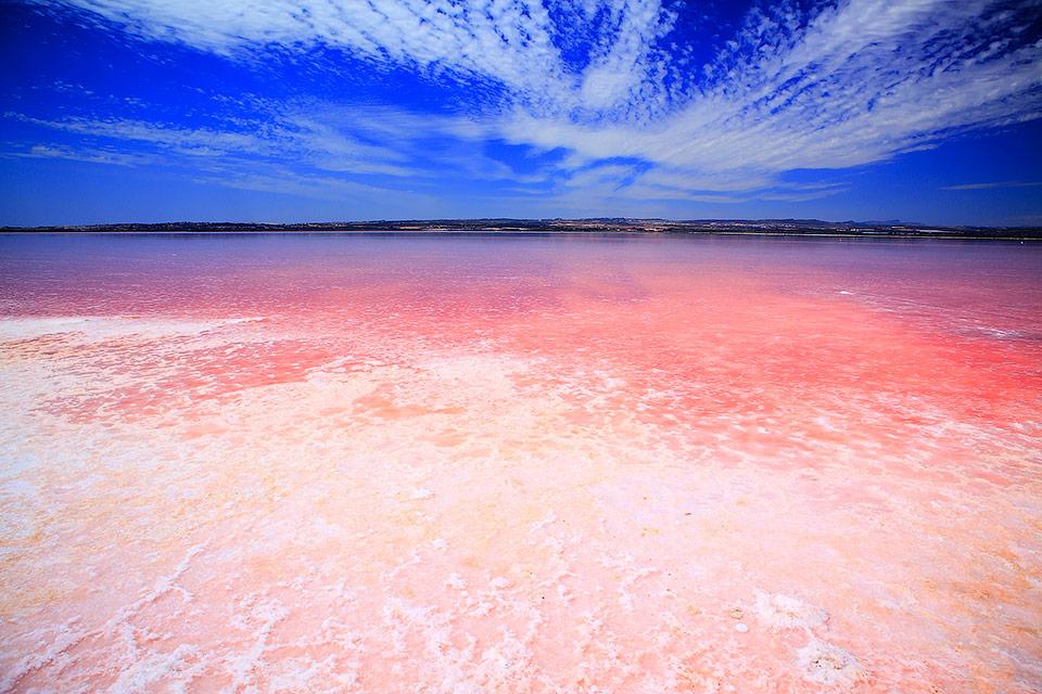 Соленое розовое озеро в Торревьеха, Испания